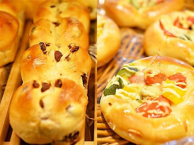 レーズンが入ったパンや色々な野菜がのったパン