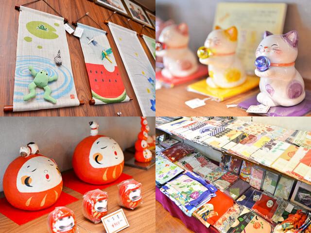 四季折々の和飾りや招き猫、だるま、手ぬぐい、小物など