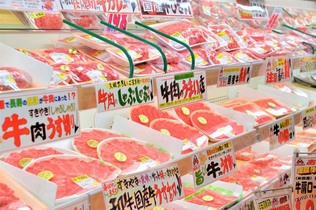 肉の商品棚