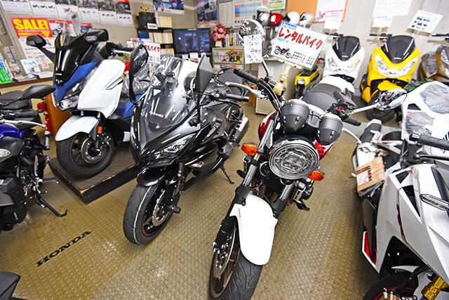 岡モータースのレンタルバイク