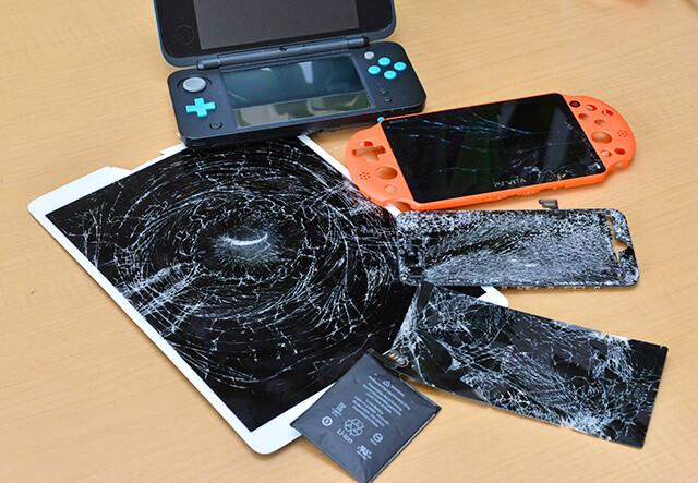 液晶が割れたiPadやゲーム機