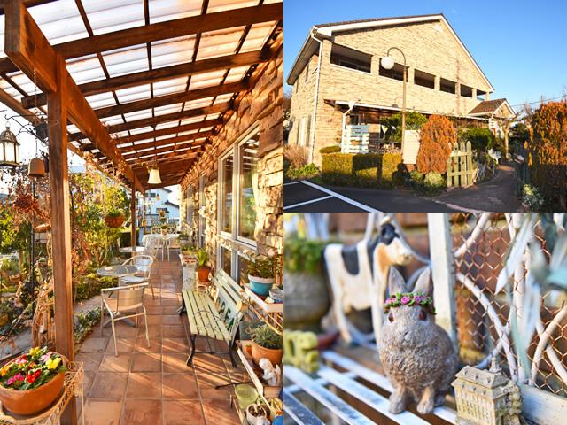 ラプレ・ミディ外観、テラス、庭に置かれた動物モチーフ