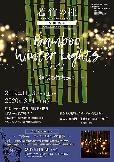 若竹の杜 若山農場 Bamboo Winter Lights2019神秘の竹あかりチラシ