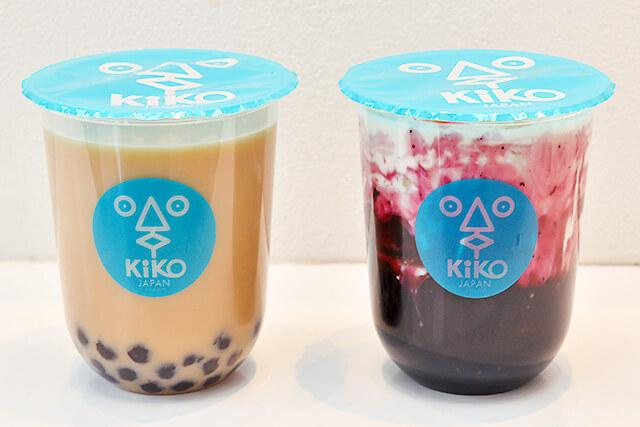 タピオカKiKO 黒糖セイロンミルクティーのホットと黒糖ブルーベリーミルク