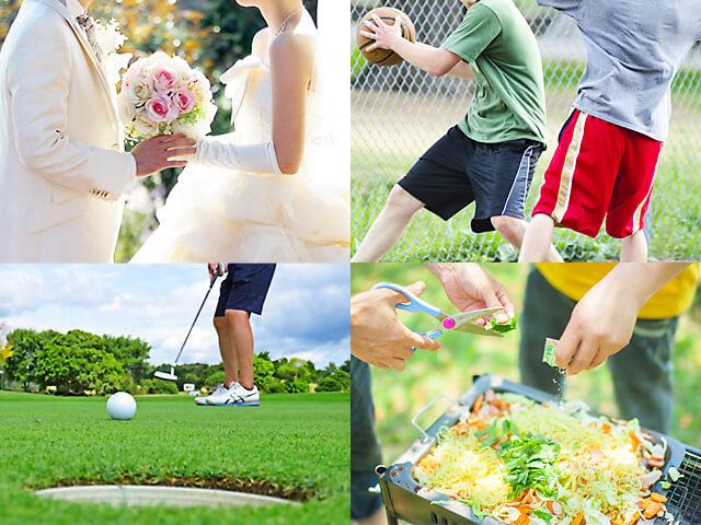 結婚式の送迎や部活の遠征、ゴルフ、バーベキューなどオリジナルのプランがたてられるイメージ写真