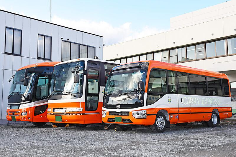 キャリー交通の大型・中型・小型バス