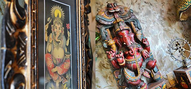 タージマハル 店内に飾られたインドの民芸品
