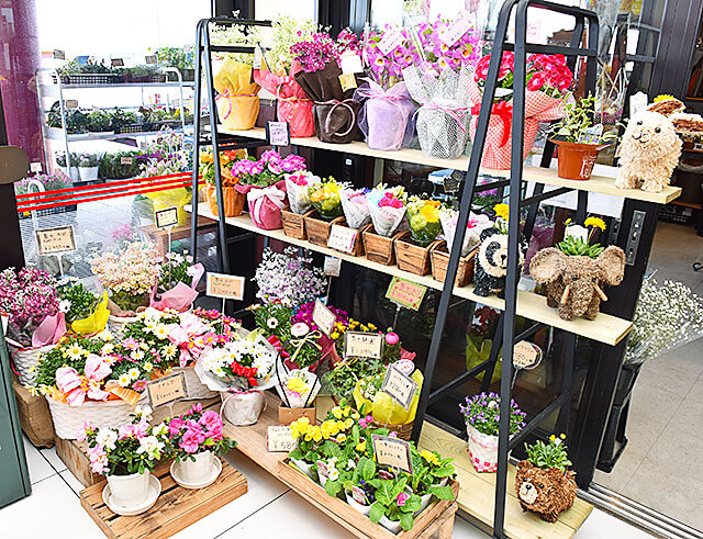 花うさぎ かましん入口側に並べられたミニブーケやアレンジメント