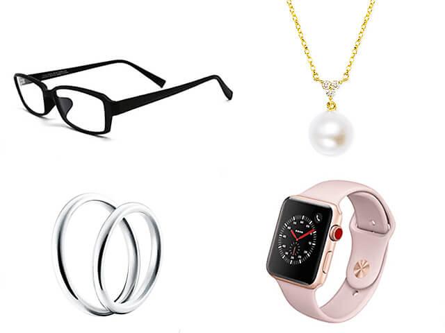 メガネ、指輪、ネックレス、腕時計イメージ画像